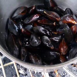Mosselen van de barbecue