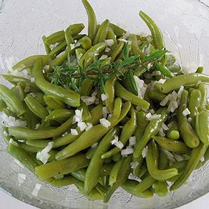 Salade van zoetzure sperzieboontjes
