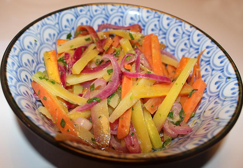 Recept Salade van regenboogwortels en champagne truffel dressing Marcel Maassen